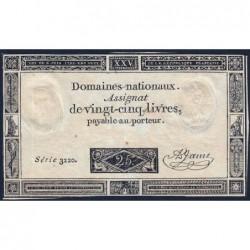 Assignat 43a - 25 livres - 6 juin 1793 - Série 3220 - Etat : TTB-