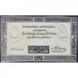 Assignat 43a - 25 livres - 6 juin 1793 - Série 3220 - Etat : TTB+