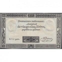 Assignat 43a - 25 livres - 6 juin 1793 - Série 3220 - Etat : TTB