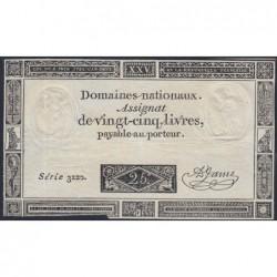 Assignat 43a - 25 livres - 6 juin 1793 - Série 3220 - Etat : TB+
