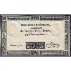 Assignat 43a - 25 livres - 6 juin 1793 - Série 3220 - Etat : pr.NEUF