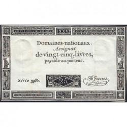 Assignat 43a - 25 livres - 6 juin 1793 - Dernière série 3986 - Etat : TTB+