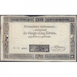 Assignat 43b - 25 livres - 6 juin 1793 - Première série 4088 - Etat : TB
