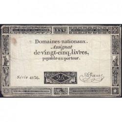 Assignat 43b - 25 livres - 6 juin 1793 - Série 4136 - Etat : TB-