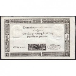 Assignat 43b_v1 - 25 livres - 6 juin 1793 - Série 4215 - Caractère à l'envers - Etat : SPL