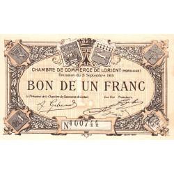 Lorient (Morbihan) - Pirot 75-2 - 1 franc - Sans Série - 03/09/1915 - Etat : SUP