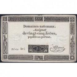 Assignat 43f-05 - Faux 25 livres - 6 juin 1793 - Série 306 - Etat : TTB