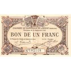 Lorient (Morbihan) - Pirot 75-2 - 1 franc - Sans Série - 03/09/1915 - Etat : NEUF