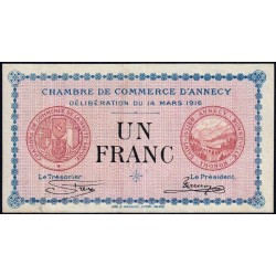 Annecy - Pirot 10-5 - 1 franc - Série 151 - 14/03/1916 - Etat : TTB+