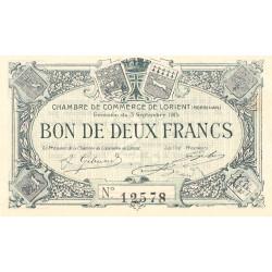 Lorient (Morbihan) - Pirot 75-3 - 2 francs - Sans Série - 03/09/1915 - Etat : SUP+