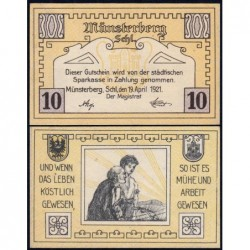 Pologne - Notgeld - Münsterberg (Ziebice) - 10 pfennig - 19/04/1921 - Etat : NEUF