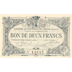 Lorient (Morbihan) - Pirot 75-3 - 2 francs - Sans Série - 03/09/1915 - Etat : NEUF