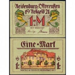 Pologne - Notgeld - Neidenburg (Nidzica) - 1 mark - 11/1921 - Etat : TTB