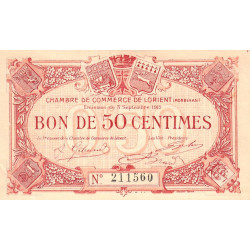 Lorient (Morbihan) - Pirot 75-4 - 50 centimes - Sans Série - 03/09/1915 - Etat : SPL