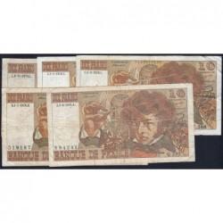 F 63 - 1975/1976 - 10 francs - Berlioz - Lot de 5 billets dates différentes - Etat : B à TB-