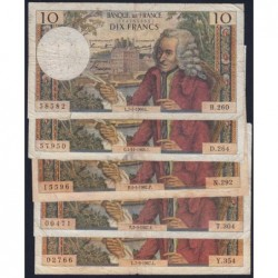 F 62 - 1966/1967 - 10 francs - Voltaire - Lot de 5 billets dates différentes - Etat : B- à TB-