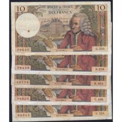 F 62 - 1967/1969 - 10 francs - Voltaire - Lot de 5 billets dates différentes - Etat : B- à TB-