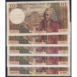 F 62 - 1967/1970 - 10 francs - Voltaire - Lot de 5 billets dates différentes - Etat : B- à TB-