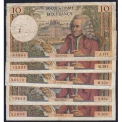 F 62 - 1970/1971 - 10 francs - Voltaire - Lot de 5 billets dates différentes - Etat : B- à TB-