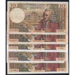 F 62 - 1970/1972 - 10 francs - Voltaire - Lot de 5 billets dates différentes - Etat : B- à TB-