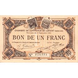 Lorient (Morbihan) - Pirot 75-8 - 1 franc - Sans Série - 03/09/1915 - Etat : SUP