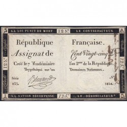 Assignat 44a - 125 livres - Signature 6 - 7 vendémiaire an 2 - Série 833 - Etat : TTB