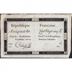 Assignat 44a - 125 livres - Signature 11 - 7 vendémiaire an 2 - Série 940 - Etat : TTB+