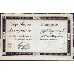 Assignat 44a - 125 livres - Signature 25 - 7 vendémiaire an 2 - Série 973 - Etat : SUP