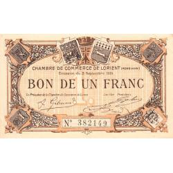 Lorient (Morbihan) - Pirot 75-8 - 1 franc - Sans Série - 03/09/1915 - Etat : SUP+