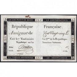 Assignat 44a - 125 livres - Signature 16 - 7 vendémiaire an 2 - Série 1428 - Etat : SPL