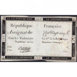 Assignat 44a - 125 livres - Signature 2 - 7 vendémiaire an 2 - Série 1718 - Etat : TTB