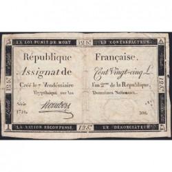 Assignat 44a - 125 livres - Signature 29 - 7 vendémiaire an 2 - Série 1721 - Etat : TB