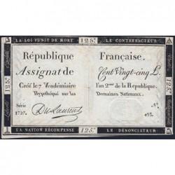 Assignat 44a - 125 livres - Signature 19 - 7 vendémiaire an 2 - Série 1727 - Etat : TTB