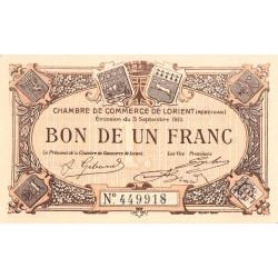 Lorient (Morbihan) - Pirot 75-8 - 1 franc - Sans Série - 03/09/1915 - Etat : NEUF