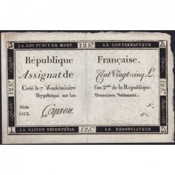 Assignat 44a - 125 livres - Signature 9 - 7 vendémiaire an 2 - Série 2213 - Etat : SUP+