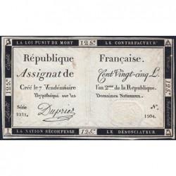 Assignat 44a - 125 livres - Signature 20 - 7 vendémiaire an 2 - Série 2221 - Etat : SUP