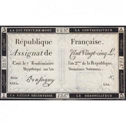Assignat 44a - 125 livres - Signature 3 - 7 vendémiaire an 2 - Série 2225 - Etat : SUP