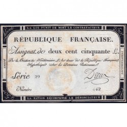 Assignat 45a - 250 livres - Signature 7 - 7 vendémiaire an 2 - Série 29 - Etat : TTB-
