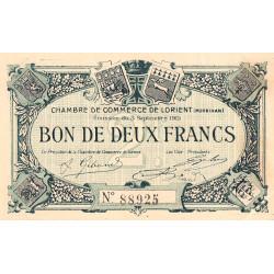 Lorient (Morbihan) - Pirot 75-11 - 2 francs - Sans Série - 03/09/1915 - Etat : SUP+