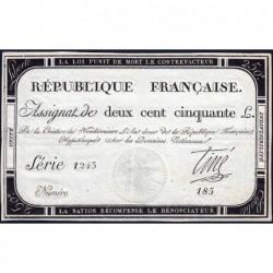 Assignat 45a - 250 livres - Signature 20 - 7 vendémiaire an 2 - Série 1243 - Etat : SPL
