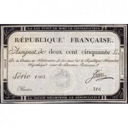 Assignat 45a - 250 livres - Signature 13 - 7 vendémiaire an 2 - Série 1265 - Etat : SUP