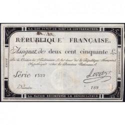 Assignat 45a - 250 livres - Signature 15 - 7 vendémiaire an 2 - Série 1322 - Etat : TTB