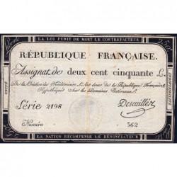 Assignat 45a - 250 livres - Signature 5 - 7 vendémiaire an 2 - Série 2198 - Etat : TTB-