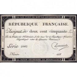 Assignat 45a - 250 livres - Signature 6 - 7 vendémiaire an 2 - Série 2985 - Etat : TTB+