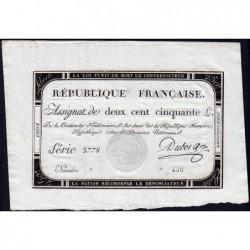 Assignat 45a - 250 livres - Signature 8 - 7 vendémiaire an 2 - Série 3778 - Etat : pr.NEUF