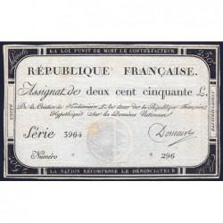 Assignat 45a - 250 livres - Signature 6 - 7 vendémiaire an 2 - Série 3964 - Etat : TTB