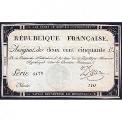 Assignat 45a - 250 livres - Signature 7 - 7 vendémiaire an 2 - Série 4133 - Etat : TTB+