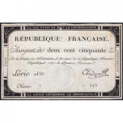 Assignat 45a - 250 livres - Signature 1 - 7 vendémiaire an 2 - Série 4136 - Etat : TTB
