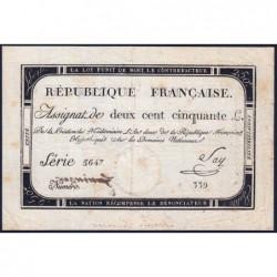 Assignat 45a - 250 livres - Signature 19 - 7 vendémiaire an 2 - Série 5647 - Etat : SUP