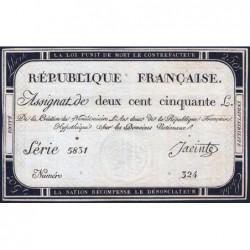 Assignat 45a - 250 livres - Signature 12 - 7 vendémiaire an 2 - Série 5831 - Etat : TTB+